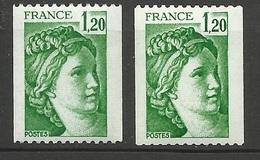 France N° 2103a  Et 2103b  N° Rouge Le B Sans Bande De Phosphore Neufs * * TB= MNH VF Soldé Le  Moins Cher Du Site ! ! ! - 1977-81 Sabine Of Gandon
