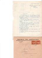 FRETIGNY EURE ET LOIRE MAIRIE LETTRE  ET ENVELOPPE  ENTETE ANNEE 1936 - Francia