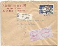 50FR JOAILLERIE SEUL LETTRE REC + ETIQUETTE EMA 00FR PARIS VIII 20.10.54 RUE DE LA BOETIE - Poststempel (Briefe)