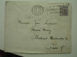 Timbre  Semeuse 50 C  Surcharge Caisse Amortissement 25 C Timbre Seul Sur Lettre - Postmark Collection (Covers)