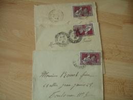 Lot De 3 Lettre Timbre 25 C Exposition Arts Decoratifs Seul Sur Lettre - Postmark Collection (Covers)
