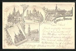 AK Breslau, Liebichshöhe, Dom, Elisabethkirche, Rathaus Und Lutherkirche - Schlesien