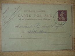 Niederhaslach  Bas Rhin Recette Auxiliaire Cachet Hexagonal Sur Entier Postal - Storia Postale