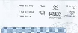 Ema Pitney Bowes Affranchigo - Service D'affranchissement De La Poste - Paris 08 PPDC - Enveloppe Entière - Marcophilie (Lettres)