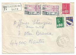 BEQUET 60C+80C+10C BLASON+ 2FRX2 LETTRE REC CHATEAUDUN AN.1 14.8.1976 EURE ET LOIR - Manual Postmarks