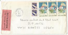 3FR ST FLORENTX3+10C BLASON PAIRE LETTRE DISTRIBUTION SPECIAL TAD 25  MONTBELIARD ANNEXE 1 5.1.1977 DOUBS - Marcophilie (Lettres)
