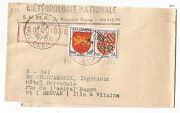 BLASON 10C+50C PETITE BANDE COMPLETE PARIS 9.9.1951 POUR ST SERVAN AU TARIF - 1941-66 Armoiries Et Blasons
