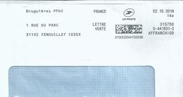 Ema Pitney Bowes Affranchigo - Service D'affranchissement De La Poste - Bruguières PPDC - Enveloppe Entière - Marcophilie (Lettres)