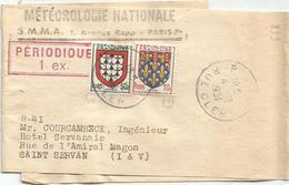 BLASON N°899+900  PETITE BANDE COMPLETE PARIS 4.12.1951 POUR ST SERVAN AU TARIF - 1941-66 Armoiries Et Blasons