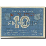 Billet, Allemagne, Baden, 10 Pfennig, 1947, KM:S1002a, SPL - [ 5] Ocupación De Los Aliados