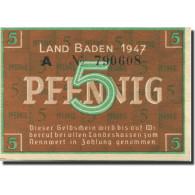 Billet, Allemagne, Baden, 5 Pfennig, 1947, KM:S1001a, SPL - [ 5] Ocupación De Los Aliados