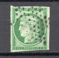 - FRANCE N° 2 Oblitéré Étoile - 15 C. Vert Type Cérès 1850  - Cote 1100 EUR - - 1849-1850 Ceres