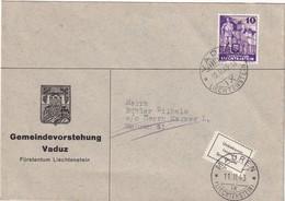 LIECHTENSTEIN 1943 LETTRE DE VADUZ EN RETOUR INCONNE - Lettres & Documents