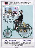 DEUTSCHLAND 1986 Mi-Nr. 1268 Auf Vignette 100 Jahre Automobil - BRD