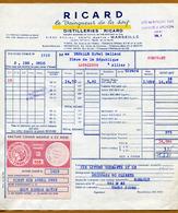 RICARD  (1955) Avec Timbre Fiscal ( CONGE Modèle 4 CC Rose ) - Alcohols