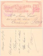 NICARAGUA. POST CARD STATIONERY 2c 1890 MANAGUA TO PARIS - Timbres