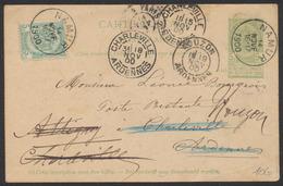 """EP Au Type 5ctm Vert + N°56 Obl Simple Cercle """"Namur"""" (1900) Vers Charleville (Ardennes) Suivi à Mouzon. Recherches - Enteros Postales"""