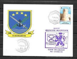 Frégate DE GRASSE - Bristol - Mission RESOLVE BEHAVIOUR - Escale à DOHA 19/08/04 - Sur Timbre Du Qatar - Marcophilie (Lettres)