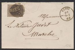 Médaillon - N°10 Sur Env. Obl P28 çàd Ciney (1862) Vers Marche. - 1858-1862 Medallions (9/12)
