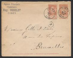 """EP Au Type Env. 10ctm Orange Fine Barbe + N°57 Obl Simple Cercle """"Ciney"""" (1895) Vers Bruxelles. - Interi Postali"""