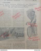 1931 CYCLISME - BORDEAUX = PARIS - LE BELGE VAN RYSSELBERGHE - Journaux - Quotidiens