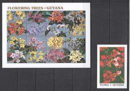 E749 GUYANA FLORA FLOWERS FLOWERING TREES OF GUYANA 1SH+1BL MNH - Flora