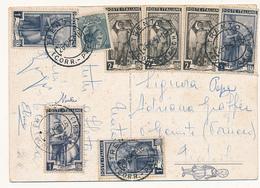1957 CARTOLINA 5 SIRACUSANA + 4X1 LIRA + 3X2 LIRE ITALIA AL LAVORO - 6. 1946-.. República