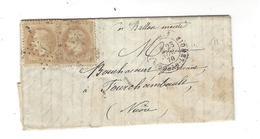 """1870 SIEGE DE PARIS  Ballon Monté  """"  Ville D'Orléans """" Lettre Pour Bouchacourt Fourchambault ( Corr. Intéressante ) - 1849-1876: Periodo Clásico"""