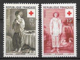 France N°1089 12F+3F & N°1090 15F+5F Croix-rouge 1956 ** - France