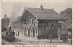 Switzerland - Gare De Six - Fontaines - Chemin De Fer Yverdon - Ste. Croix - Steam Train - Stations With Trains