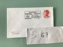 BAS - RHIN — DIEMERINGEN 8 - 2 - 85 - Marcophilie (Lettres)