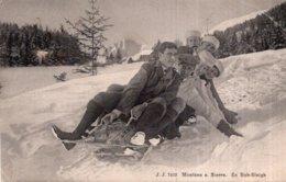 CPA   MONTANA S. SIERRE ---EN BOB-SLEIGH---ANIMEE TRES RARE ?---1917 - VS Valais