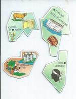 4 MAGNETS : CANTAL - AURILLAC / CHARENTE-MARITIME - LA ROCHELLE / CORREZE - TULLE / CORSE - BASTIA - Magnetos