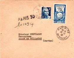 Unesco Yv 771 + Marianne Gandon Gravé Yv 725 - Recommandé 16 Janvier 1947 - Enveloppe Entière  (S195) - Covers & Documents