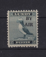 #01 Great Britain Lundy Island Puffin Stamp 1950 BY AIR Narrow Overprint Cat #71 2p Mint. Free UK P+p! Offers? - Local Issues