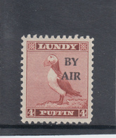 #10 Great Britain Lundy Island Stamp 1950 BY AIR Narrow Overprint Narrow #73 4p Mint. Free UK P+p! Offers? - Local Issues
