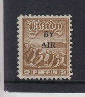 #11 Great Britain Lundy Island Puffin Stamp 1950 BY AIR Narrow Overprint Cat #75 9p Mint. Free UK P+p! Offers? - Local Issues