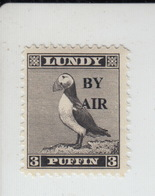 #14 Great Britain Lundy Island Puffin Stamp 1950 BY AIR Narrow Overprint 3p Mint. Free UK P+p! Offers? - Local Issues