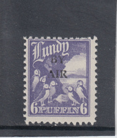 #20Great Britain Lundy Puffin Stamp 1950 BY AIR Narrow Overprint Cat #74 6p Mint. Free UK P+p! Offers? - Local Issues