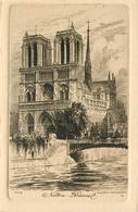 PARIS - Notre Dame , Gravure Eau Forte, Lot De Deux Cartes. - Notre Dame De Paris