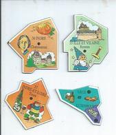 4 MAGNETS : ILLE-ET-VILAINE - RENNES / INDRE - CHATEAUROUX / INDRE-ET-LOIRE - TOURS / LUXEMBOURG - LIEGE - Magnets