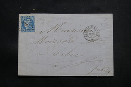 FRANCE - Lettre Pour Orbec En 1871, Affranchissement Type Bordeaux, Oblitération Ambulant - L 54930 - Poststempel (Briefe)