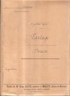 1910 - Mme Vve BEZON (née TURLIN) - Partage De La Succession BEZON (Congis Nanteuil Meaux, Fonderie De Villenoy), DEFAUX - Other Municipalities