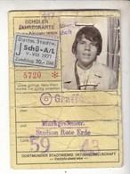 Germany 1970-71 Schuler Jahreskarte Dortmunder Stadtwerke - Season Ticket