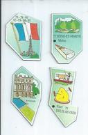 4 MAGNETS : PARIS / SEINE-ET-MARNE - MELUN / YVELINES - VERSAILLES / DEUX-SEVRES - NIORT - Magnetos