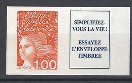 FRANCE 1997 Timbre 3101a MARIANNE DE LUQUET 1.00 FF PLUS VIGNETTE SIMPLIFIEZ VOUS LA VIE ESSATEZ L ENVELOPPE TIMBREE - Adhésifs (autocollants)