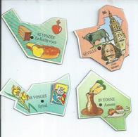 4 MAGNETS : VENDEE - LA ROCHE S/YON /86 - SEVILLE / VOSGES - EPINAL / YONNE - AUXERRE - Magnetos