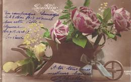 """87. LIMOGES ( ENVOYE DE). CPA. BROUETTE DE FLEURS """" SOUVENIR """".. SUPPORT TEXTE MILITARIA DU 23 MAI 1917 - Guerre 1914-18"""