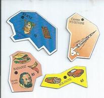 4 MAGNETS : 973 GUYANE - CAYENNE / 65 - BOLOGNE / 85 - BADAJOZ / 91 - BERNE - Magnets