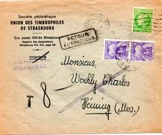 """Lettre Au Tarif """"imprimé"""" Taxée Au Tarif """"lettre"""" Car Refusée Comme """"imprim - 8 Novembre 1947 - Enveloppe Entière (S207) - Storia Postale"""